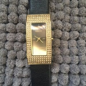 DKNY Women's gold pave watch
